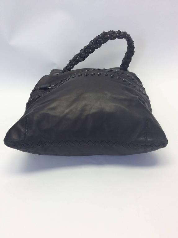 Bottega Veneta Gray Leather Studded Satchel For Sale 2