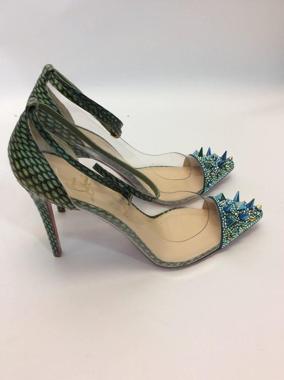 Christian Louboutin NIB Just Picks 100 Pot Pourri PVC Cobra Version Green Pumps 4