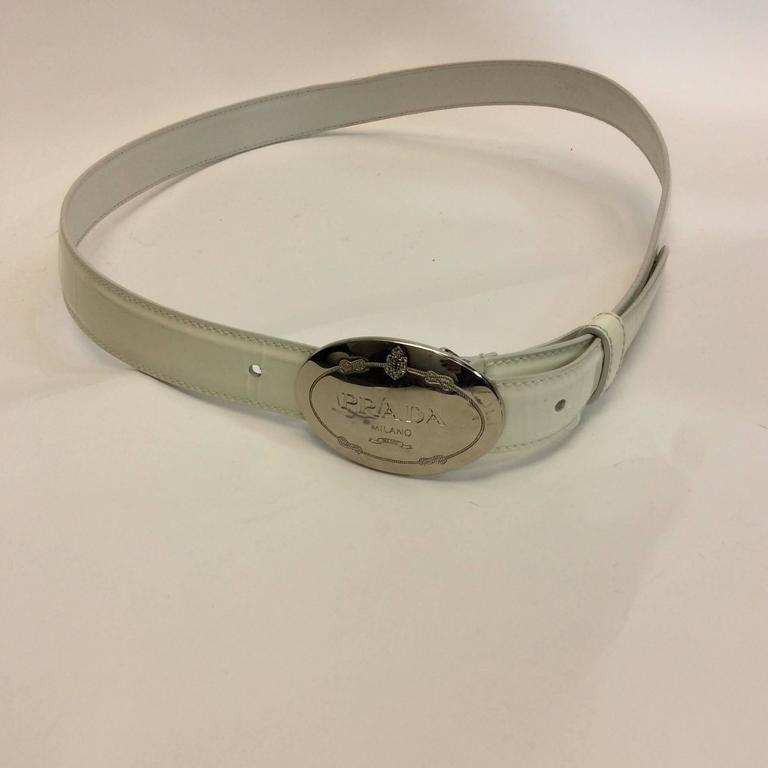 prada white patent leather belt with buckle for sale