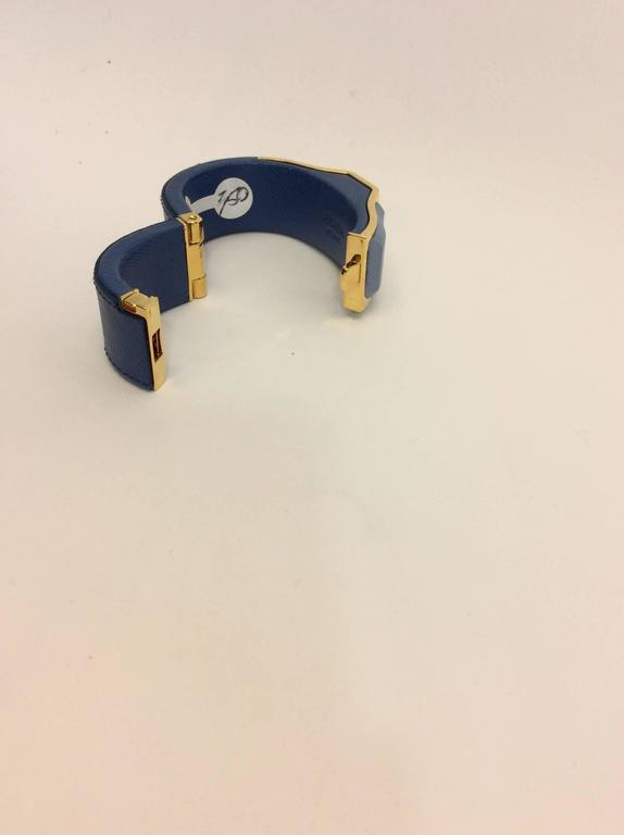 Prada Blue Leather Cuff 4
