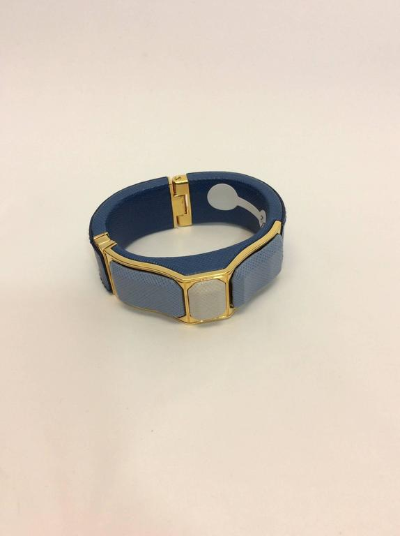 Prada Blue Leather Cuff 2