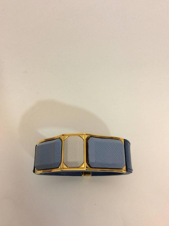 Prada Blue Leather Cuff 3