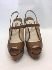 Prada Leather Peep Toe Platform Stiletto