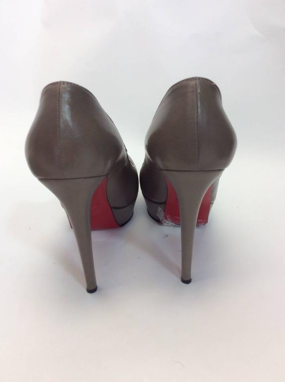 Christian Louboutin Gray Leather Platform Pumps 3
