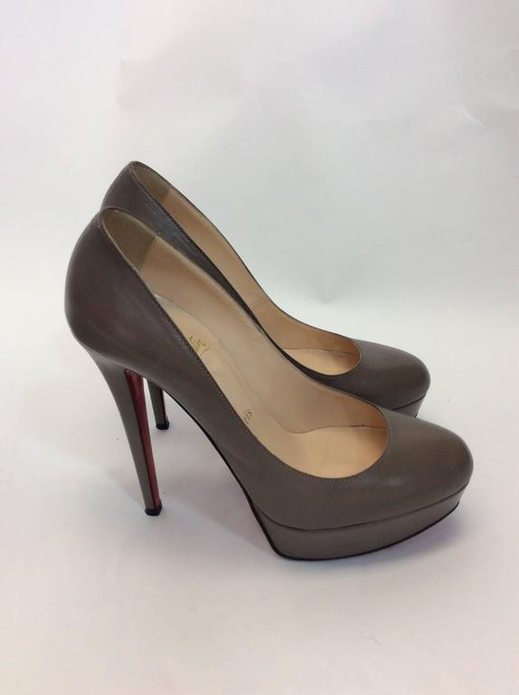 Christian Louboutin Gray Leather Platform Pumps 2