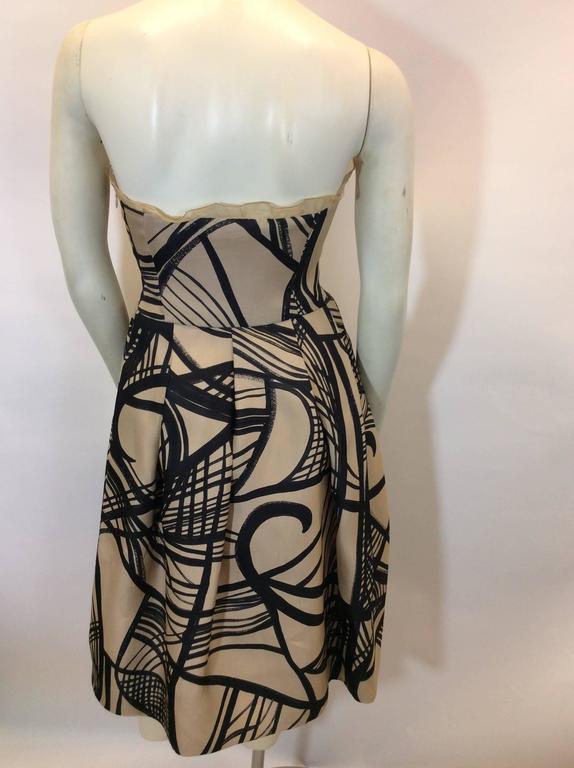 Giambattista Valli Cream and Black Printed Strapless Cocktail Dress 4