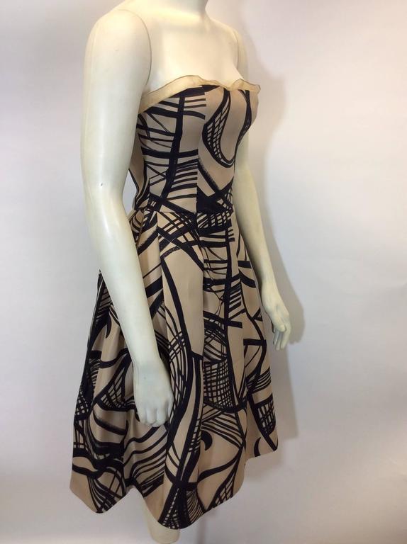 Giambattista Valli Cream and Black Printed Strapless Cocktail Dress 3