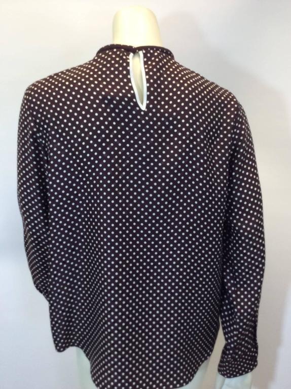 Chloe Brown Polka Dot Blouse with Neck Tie In Excellent Condition For Sale In Narberth, PA