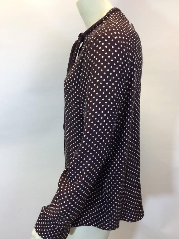 Chloe Brown Polka Dot Blouse with Neck Tie 3