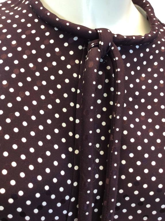 Chloe Brown Polka Dot Blouse with Neck Tie For Sale 1
