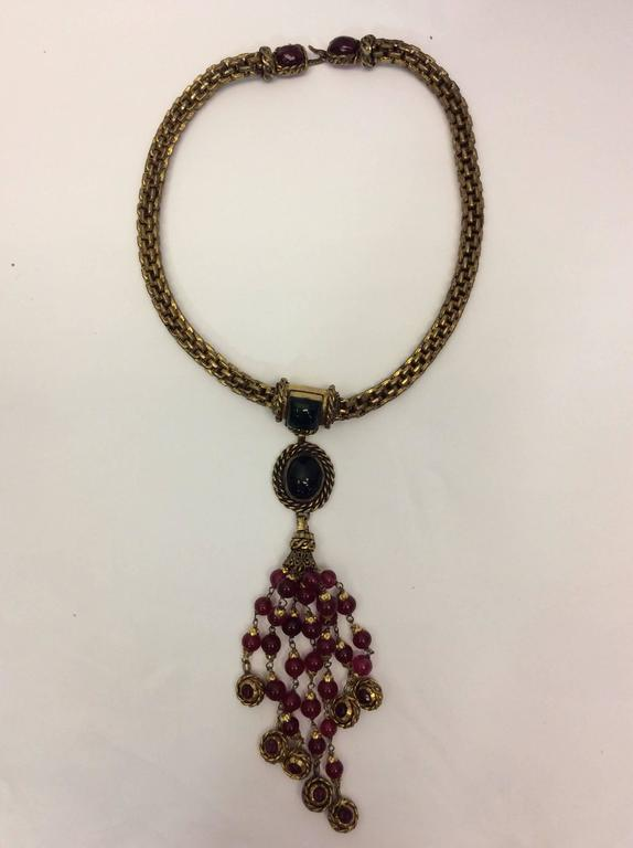 Black Chanel Vintage Necklace And Earring Set For