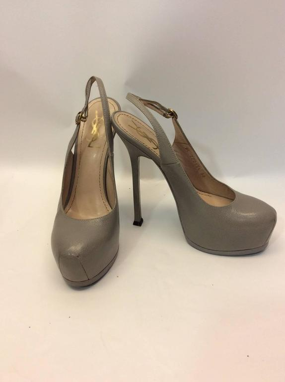 Ysl Grey Slingback Platform Pumps For Sale At 1stdibs