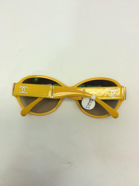 Women's Chanel Yellow Framed Glasses with White Logo Inlay For Sale