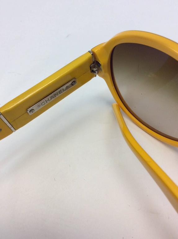 Chanel Yellow Framed Glasses with White Logo Inlay For Sale 1