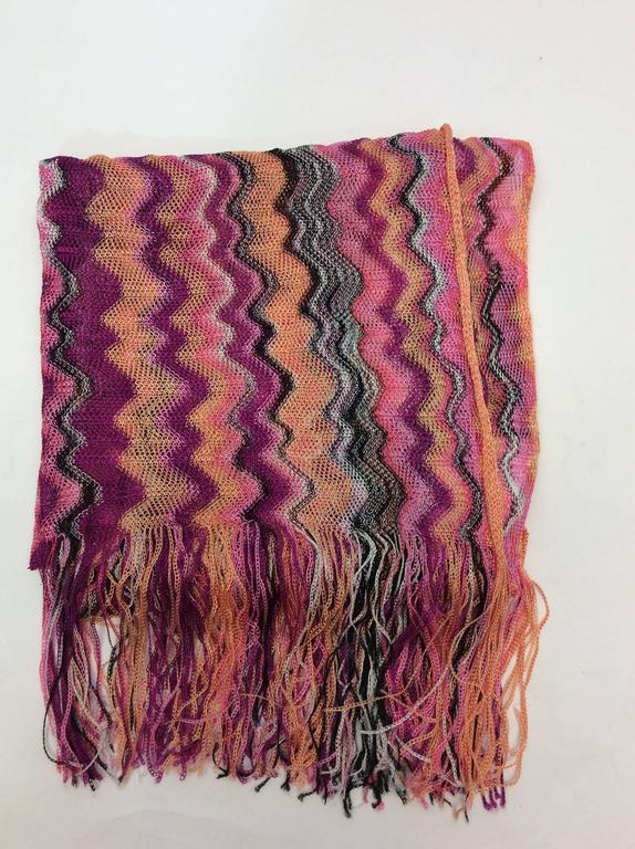 missoni pink chevron knitted scarf with fringe for sale at