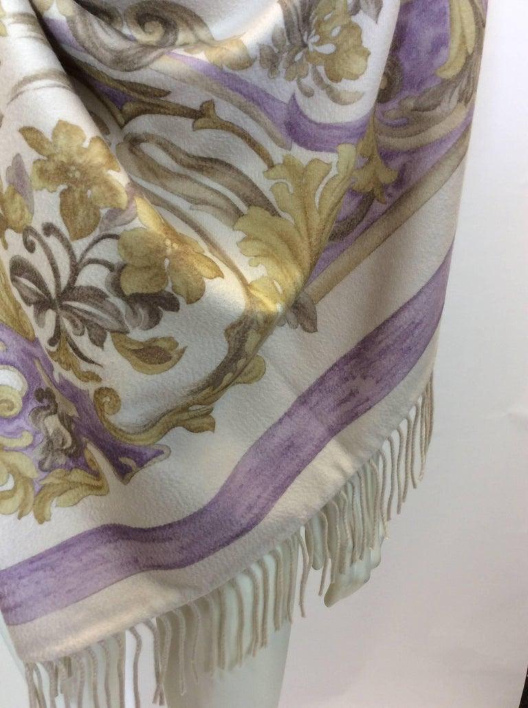 Loro Piana Cream Floral Printed Cashmere Shawl For Sale At