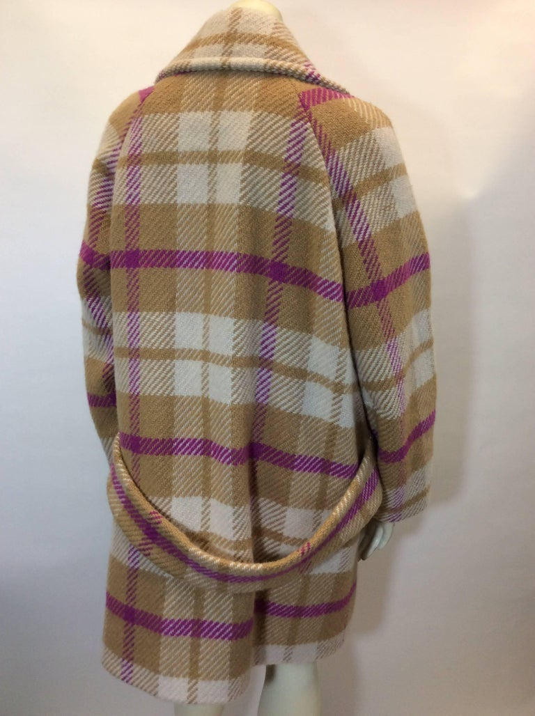 sonia rykiel taupe and pink plaid overcoat for sale at 1stdibs. Black Bedroom Furniture Sets. Home Design Ideas