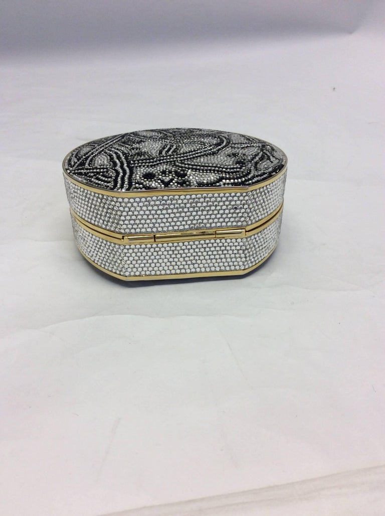 Judith Leiber Black And Silver Rhinestone Clutch For Sale 1