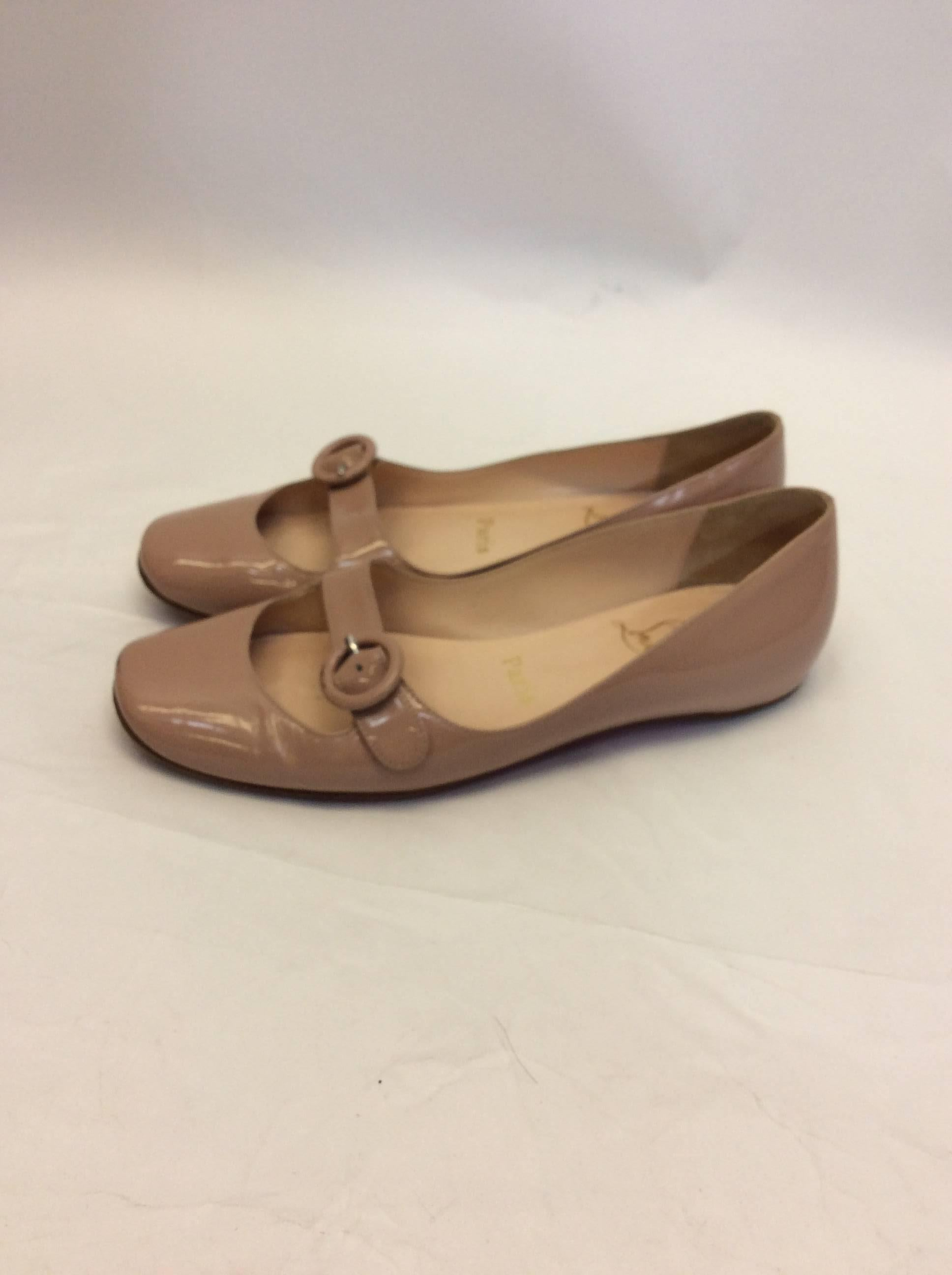 2bd7be636e1b ... purchase brown christian louboutin nude patent leather mary jane flat  for sale a1a50 cb96b