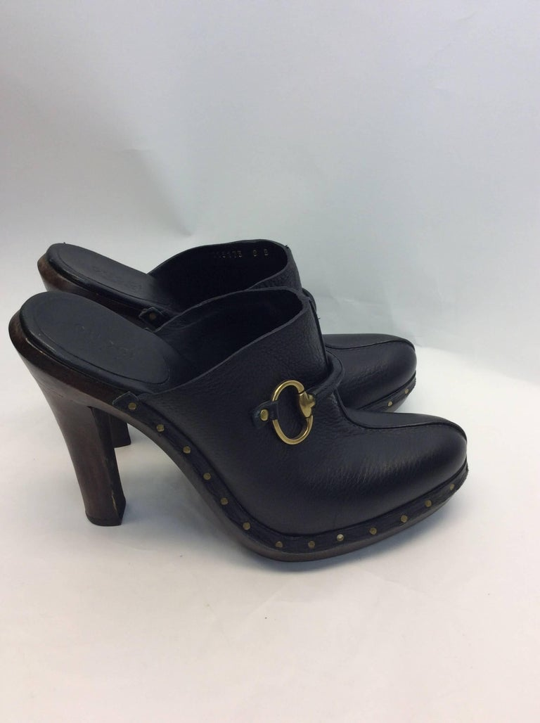 022c5336f97 Gucci Black Leather Clog Heels Size 8 Made in Italy  150 Horsebit detail on  the front