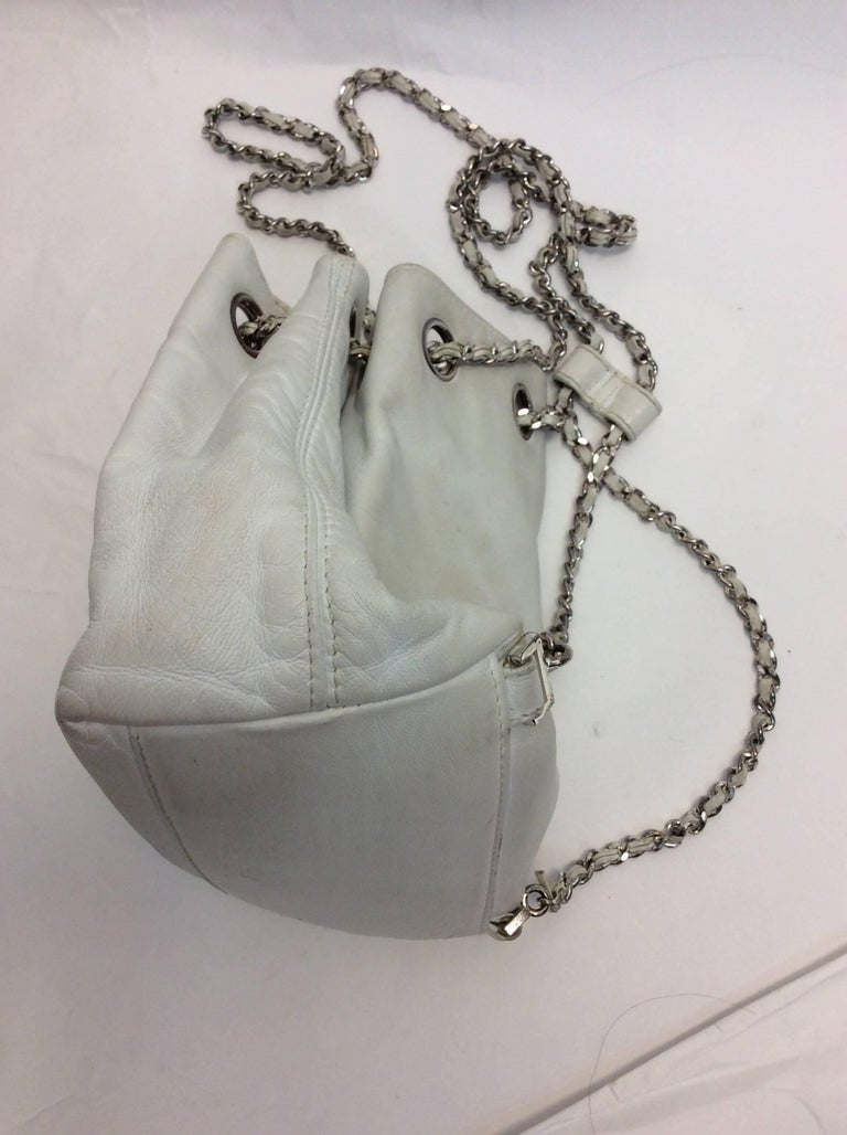 Chanel White Small Vintage Backpack In Fair Condition For Sale In Narberth, PA