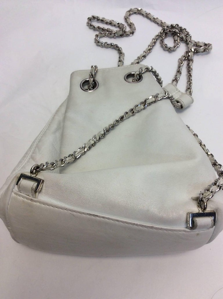 Gray Chanel White Small Vintage Backpack For Sale