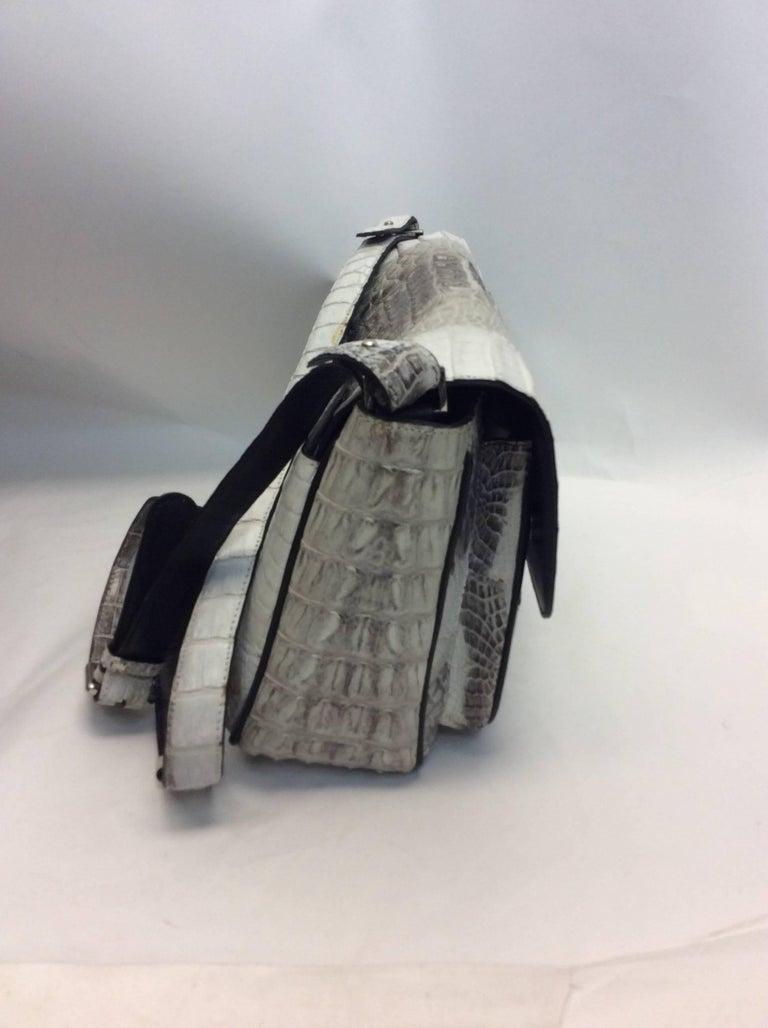 Women S River Crocodile Skin Winter White Crossbody Bag For