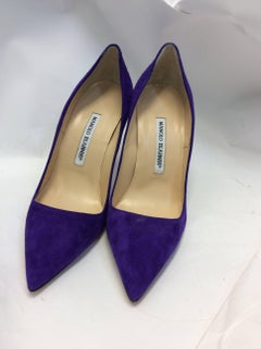 Manolo Blahnick New Purple Suede Pumps
