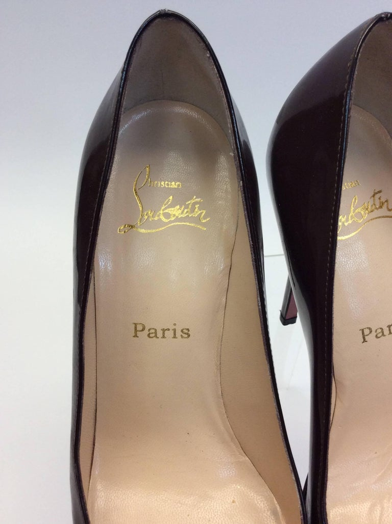 Christian Louboutin Brown Patent Leather Heels For Sale 1
