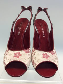 Louis Vuitton Red and Pink Floral Peep Toe Heel