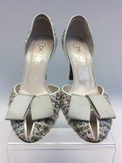 Chanel Pink and Cream Tweed Heel
