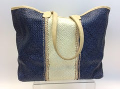 Lance Woven Leather Blue and White Tote