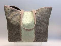 Lance Woven Leather Pink and Tan Tote