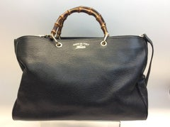 Gucci Black Leather Bamboo Tote