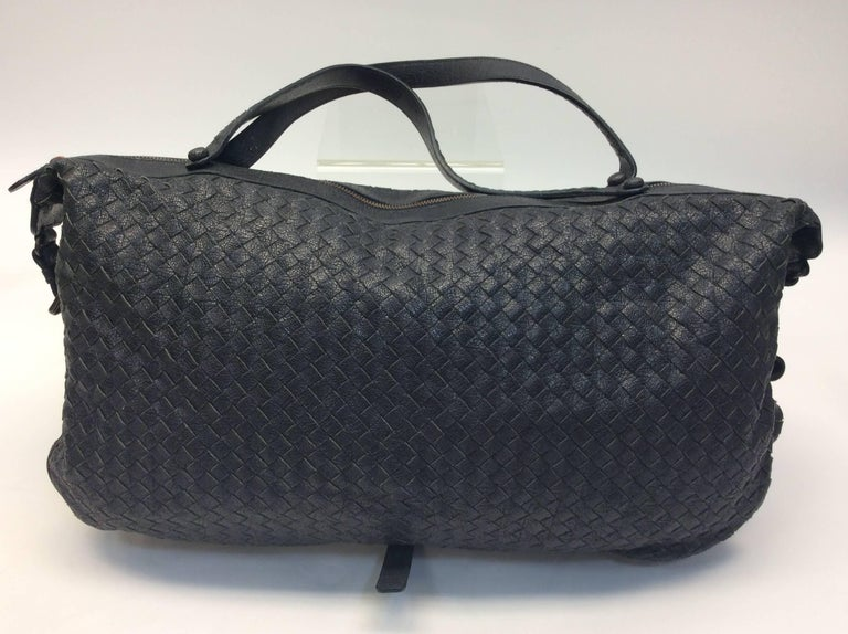 Bottega Veneta Black Woven East West Leather Tote In Excellent Condition For Sale In Narberth, PA