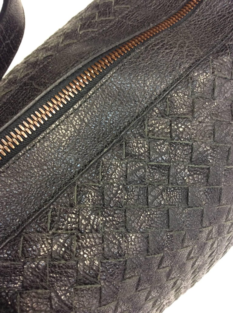 Bottega Veneta Black Woven East West Leather Tote For Sale 3