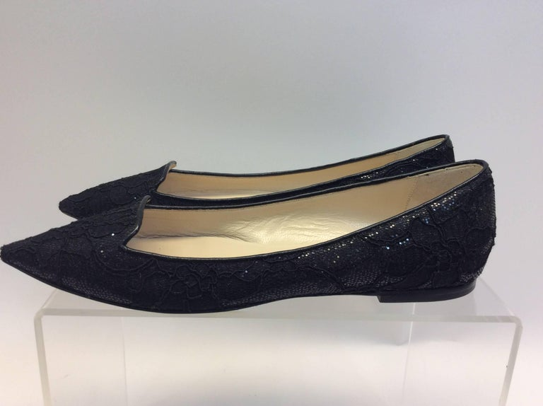 Jimmy Choo Black Lace Flat $199 Made in Italy Size 38.5