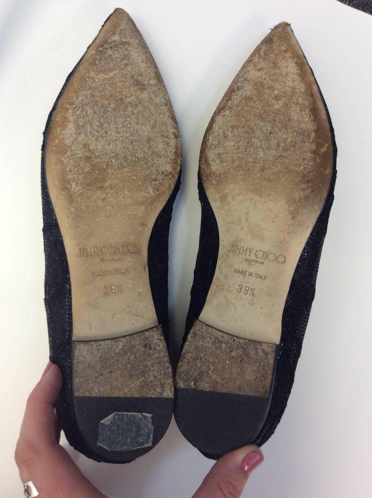 Jimmy Choo Black Lace Flat For Sale 1