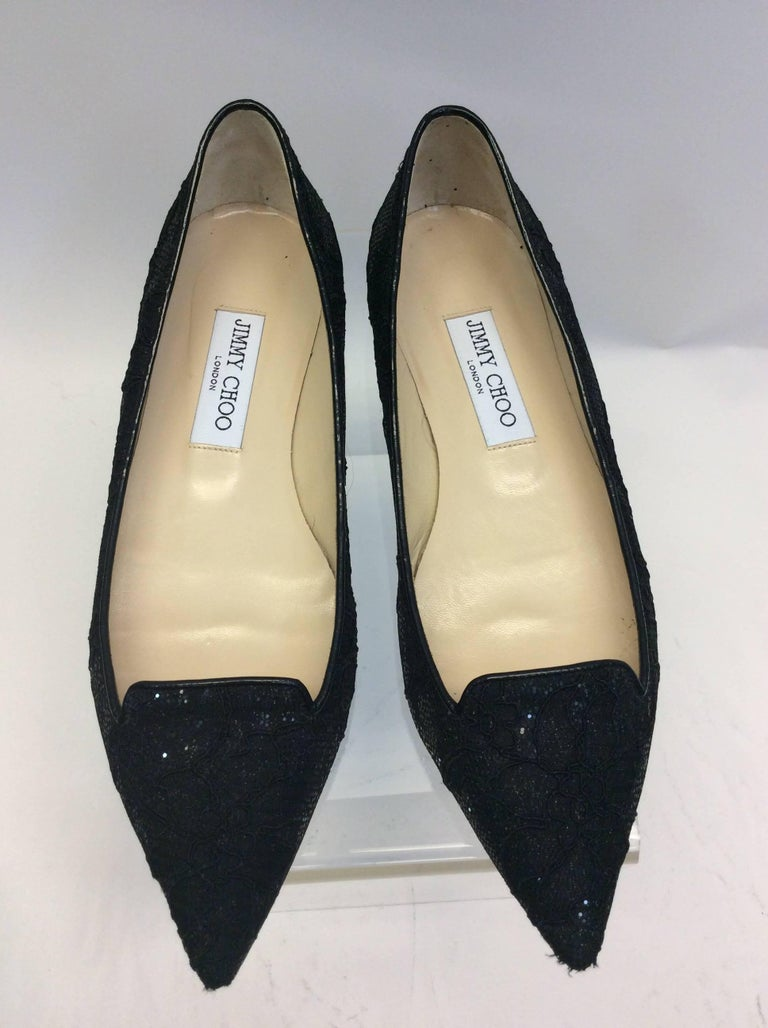 Jimmy Choo Black Lace Flat For Sale 2