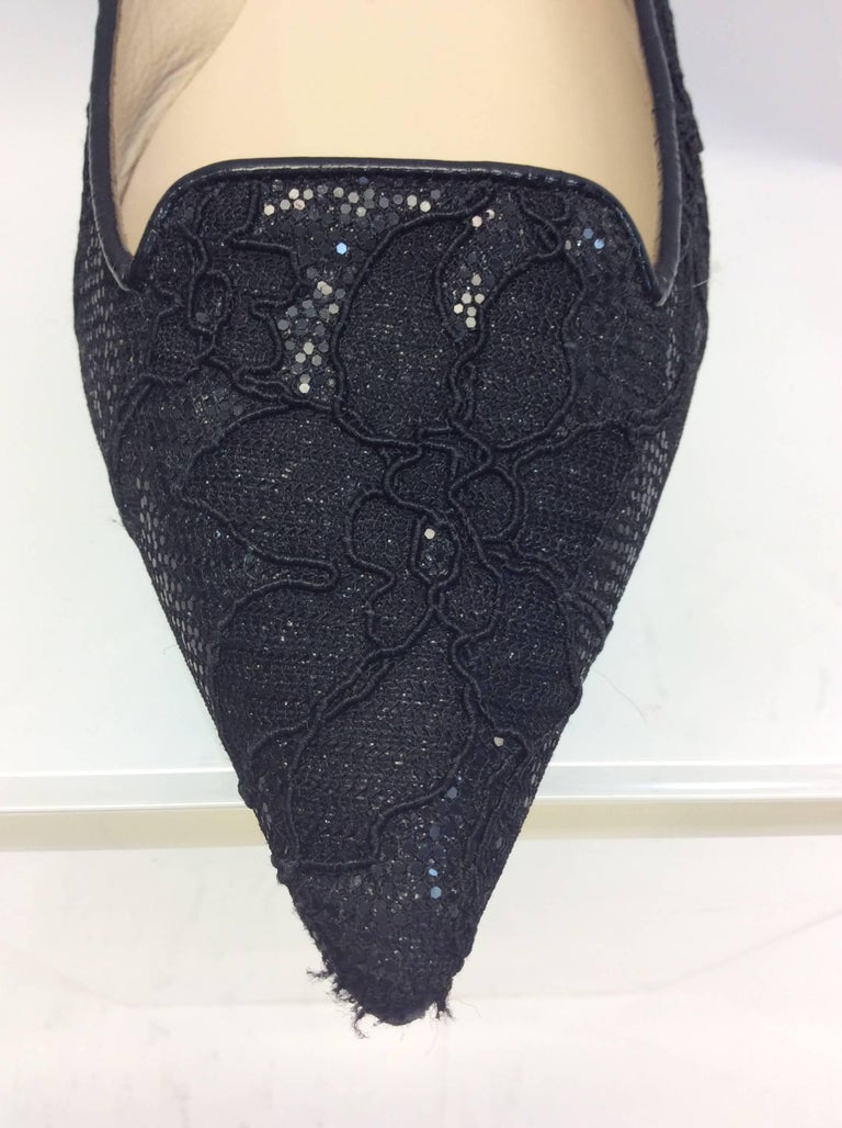 Jimmy Choo Black Lace Flat For Sale 3