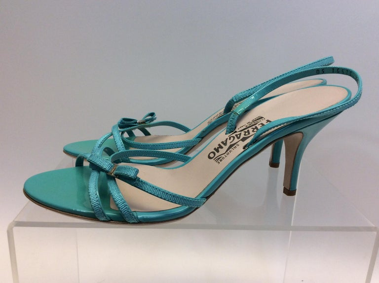 Salvatore Ferragamo Turquoise Strappy Sandal $199 Made in Italy Leather Size 9 2.5