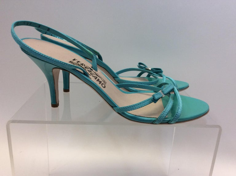 Salvatore Ferragamo Turquoise Strappy Sandal In Excellent Condition For Sale In Narberth, PA