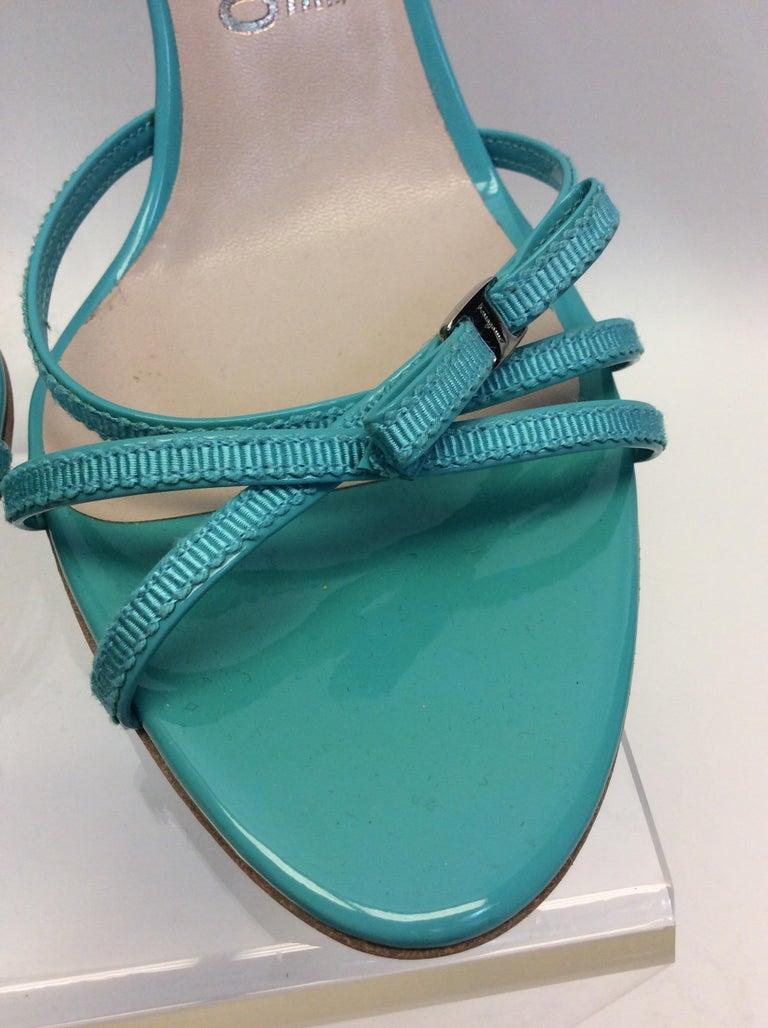 Women's Salvatore Ferragamo Turquoise Strappy Sandal For Sale