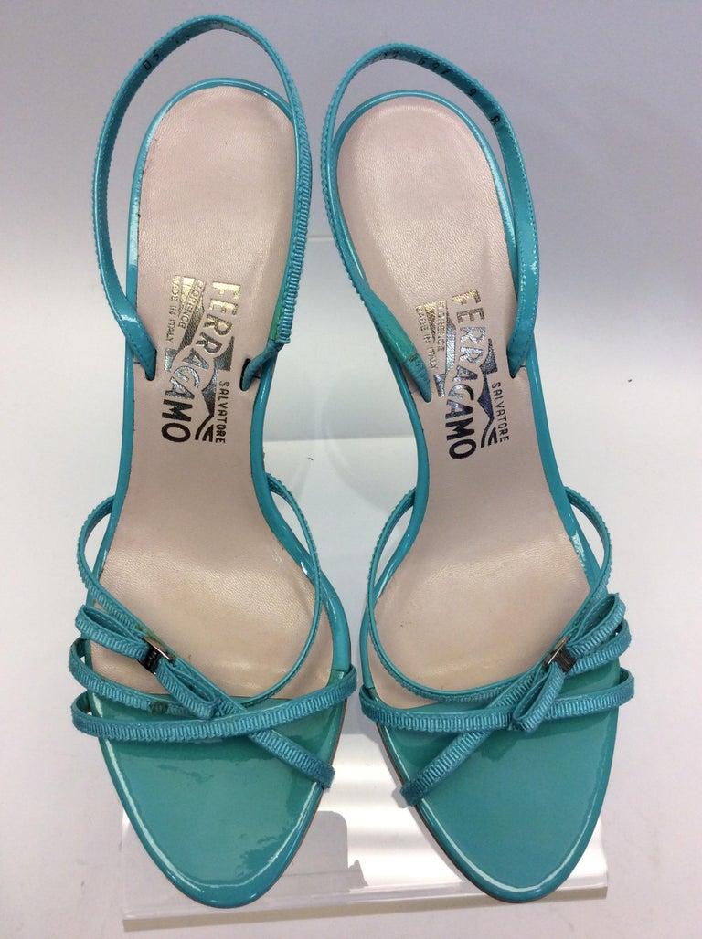 Salvatore Ferragamo Turquoise Strappy Sandal For Sale 1