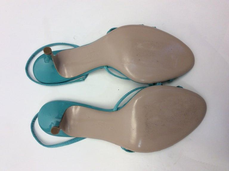 Salvatore Ferragamo Turquoise Strappy Sandal For Sale 3