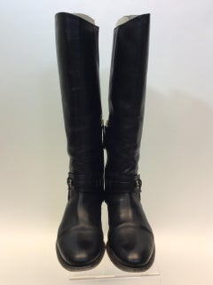 Burberry Black Leather Knee-High Boots