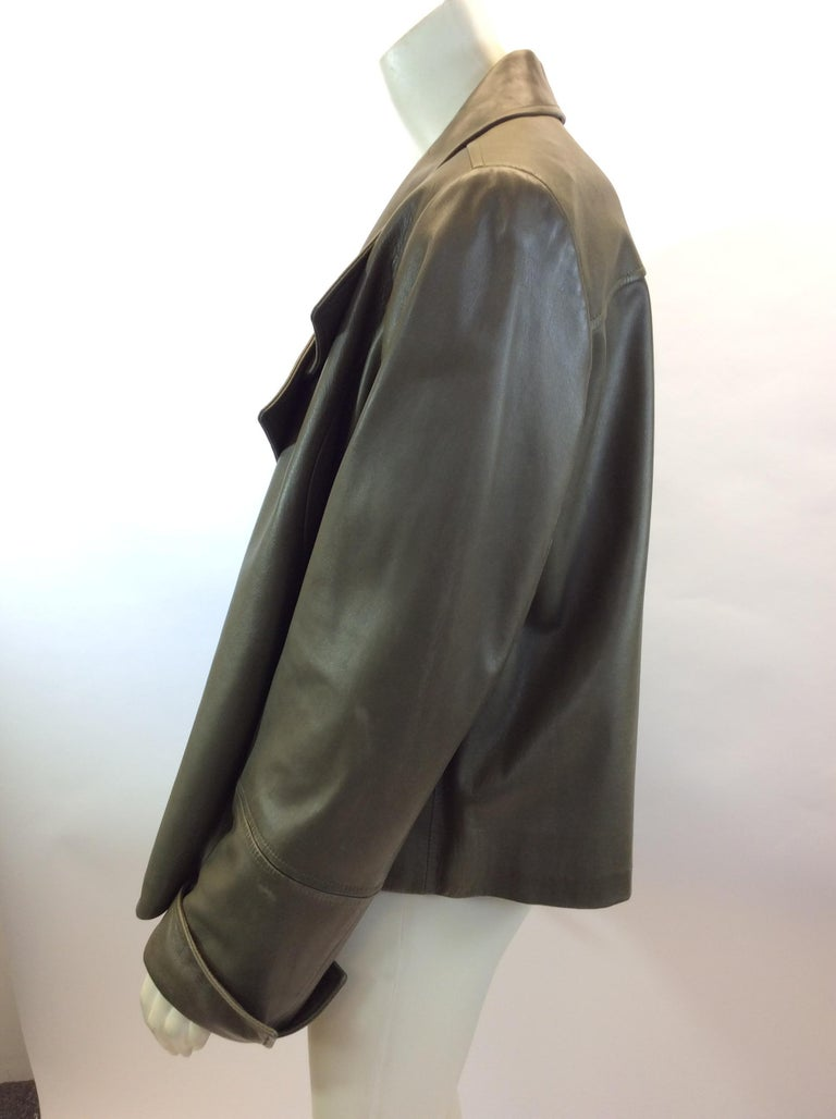 e36c35bf7b70 Lafayette 148 Olive Green Leather Jacket $299 Made in China 100% Leather  Size 14 Length