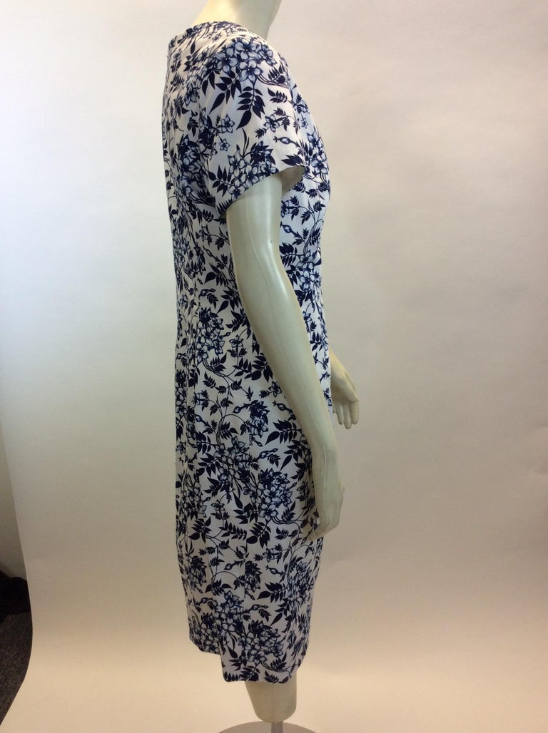 Carolina Herrera Navy Blue and White Print Dress NWT In New Condition For Sale In Narberth, PA