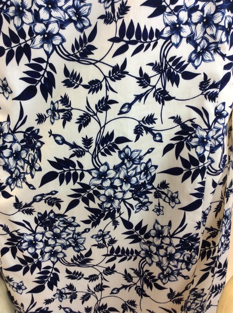 Carolina Herrera Navy Blue and White Print Dress NWT For Sale 1