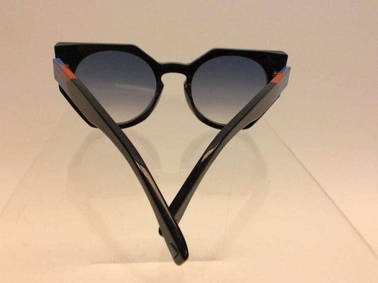 Black Fendi Navy Blue Sunglasses For Sale